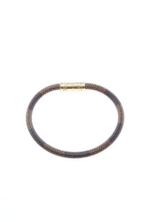 Louis Vuitton Bracelet en cuir brun-noir élégant