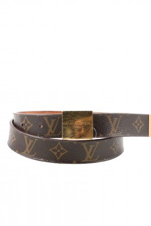 Louis Vuitton Leather Belt brown printed lettering casual look