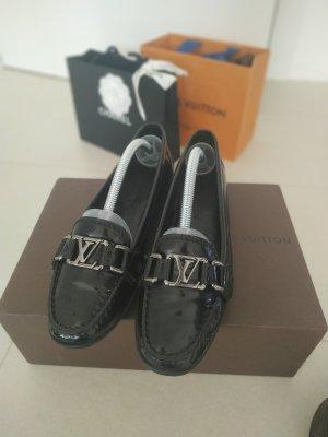 Louis Vuitton Mocassins noir-argenté cuir