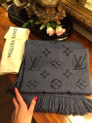Louis Vuitton Wełniany szalik szary niebieski
