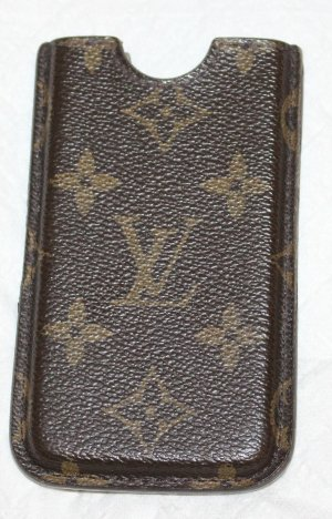 Louis Vuitton Carcasa para teléfono móvil marrón oscuro Cuero