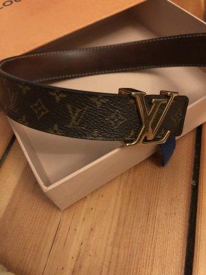 Louis Vuitton Lederen riem zwart bruin-goud Leer