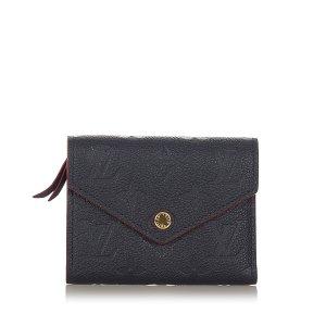 Louis Vuitton Portemonnee blauw Leer
