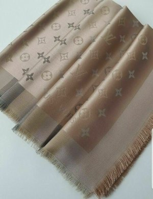 Louis Vuitton Monogram Shine M76337, Schal, Tuch, 140x140 beige Seide Wolle