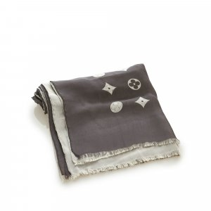 Louis Vuitton Bufanda gris oscuro Seda