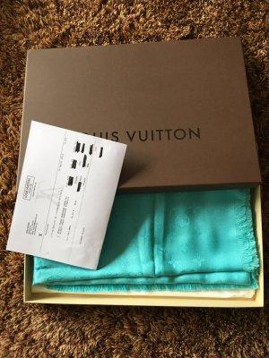 Louis Vuitton Schoudersjaal lichtblauw Zijde