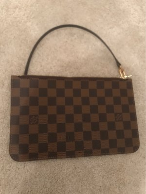 Louis Vuitton Neverfull Pochette Clutch Damier Ebene