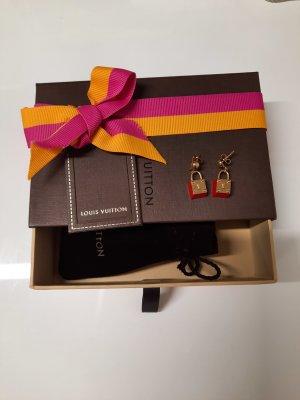 LOUIS VUITTON Ohrringe Rot/ Goldfarben mit Geschenkbox und Staubbeutel