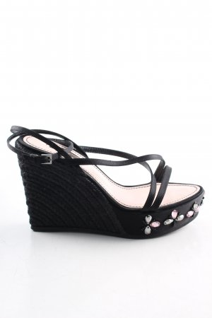 Louis Vuitton Plateau-Sandaletten schwarz Zopfmuster Casual-Look