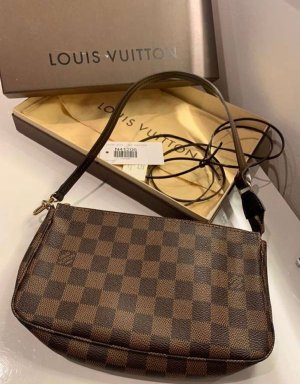 Louis Vuitton Pochette Accesoires Clutch Damier Ebene Canvas GM