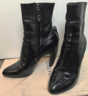 * LOUIS VUITTON * pointed BLACK ELECTRIC EPI LEATHER ANKLE BOOTS spitze Absatz Stiefeletten LACK LEDER schwarz Gr 36