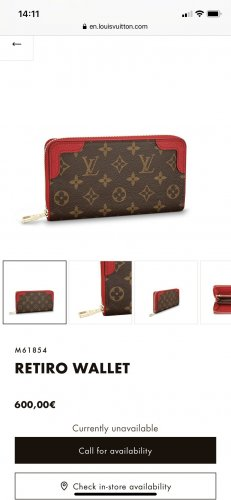 Louis Vuitton Portefeuille bronze-rouge fluo cuir