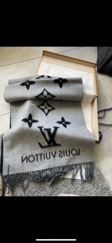 Louis Vuitton Szalik z kaszmiru czarny-jasnoszary