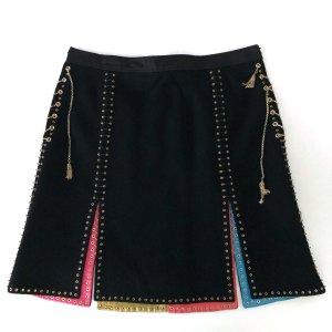 Louis Vuitton Minifalda negro-color oro Lana