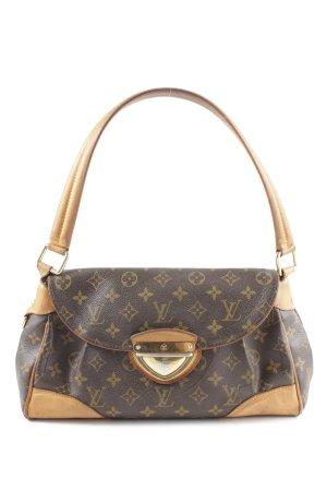 Louis Vuitton Schultertasche braun-wollweiß Schriftzug gedruckt Elegant