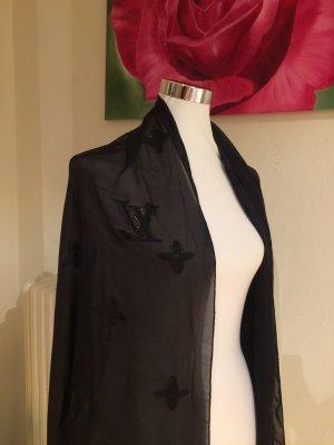 Louis Vuitton Bufanda de seda negro Seda