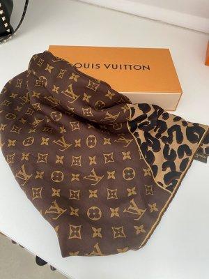 Louis Vuitton Jedwabny szal brązowy