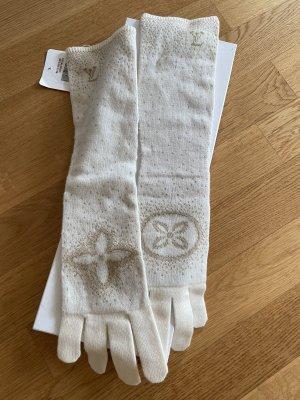 Louis Vuitton Gants en tricot blanc cassé-doré