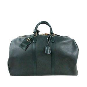 Louis Vuitton Sac de voyage vert foncé cuir