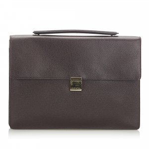 Louis Vuitton Bolso business marrón oscuro Cuero