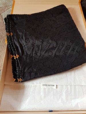 Louis Vuitton Bufanda de seda negro-color oro