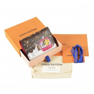 Louis Vuitton Portemonnee bruin-magenta Leer