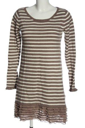 Louise Orop Swetrowa sukienka brązowy-biały Wzór w paski W stylu casual
