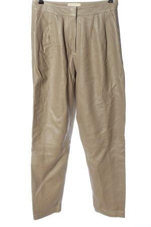 LouLou Pantalon en cuir crème style décontracté