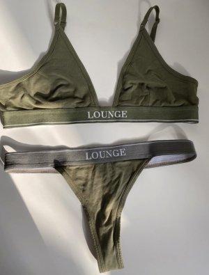 LOUNGE Ensemble de lingerie gris vert-kaki