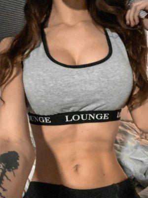 Lounge underwear top/Bh/Sportbh grau