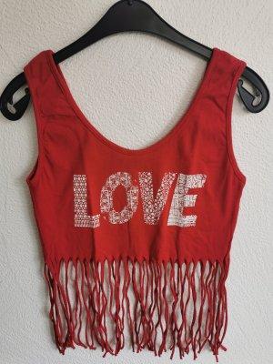 Love Crop Top in rot mit Fransen