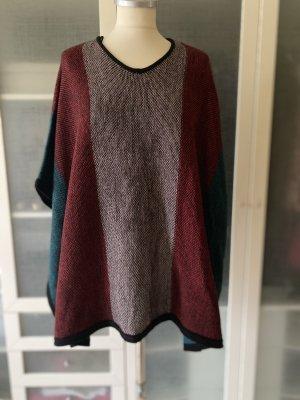 love knitwear Poncho en tricot brun foncé-bordeau