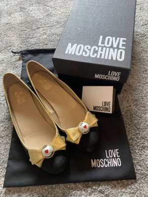 Love Moschino Bailarinas con tacón Mary Jane azul oscuro-color oro