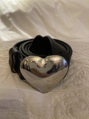 Love Moschino Gürtel gr 95 schwarz Leder Silber