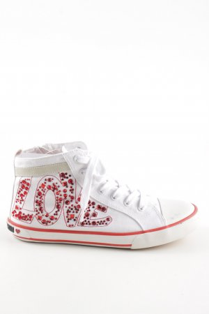 Love Moschino High Top Sneaker weiß-rot Glanz-Optik