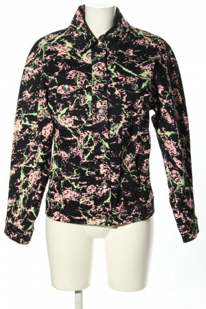 Love Moschino Denim Jacket black-pink abstract pattern casual look