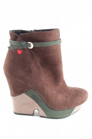 Love Moschino Keil-Stiefeletten braun-khaki Business-Look
