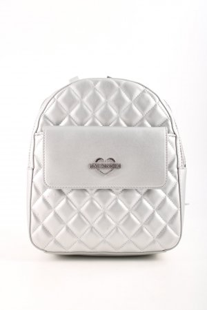 "Love Moschino Zainetto ""Quilted Flap Backpack Metallic Argento"" argento"
