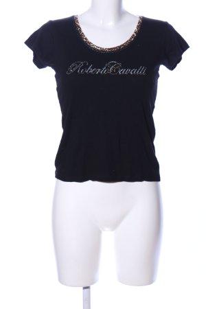 Love Moschino T-Shirt schwarz-creme Schriftzug gedruckt Casual-Look