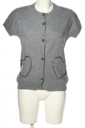 Love Moschino Short Sleeve Knitted Jacket light grey flecked casual look