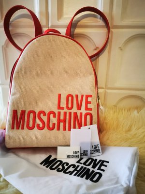 Love Moschino Backpack Trolley natural white-red