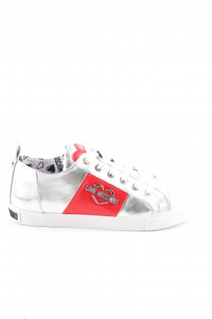 Love Moschino Schnürsneaker silberfarben Motivdruck Casual-Look