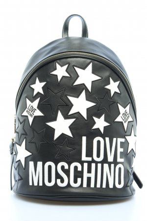 Love Moschino School Backpack black-white themed print casual look