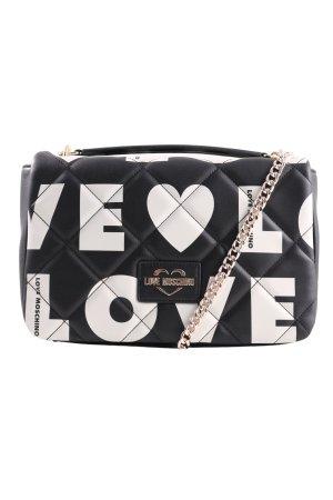 Love Moschino Schultertasche schwarz-weiß Schriftzug gedruckt Elegant