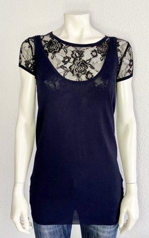 Love Moschino Shirt Gr. 36 dunkelblau /schwarz Spitze Logo