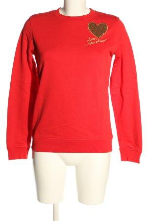 Love Moschino Sweatshirt rot Schriftzug gestickt Casual-Look
