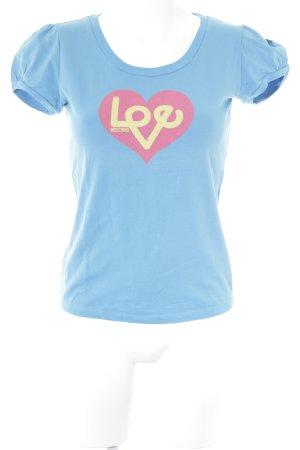 Love Moschino T-Shirt kornblumenblau Motivdruck Casual-Look