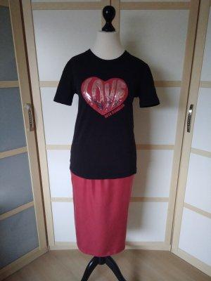 Love Moschino T-Shirt black-carmine cotton