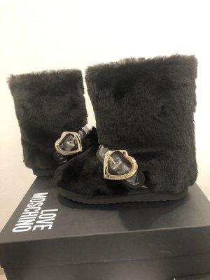 Love Moschino Futrzane buty czarny-złoto