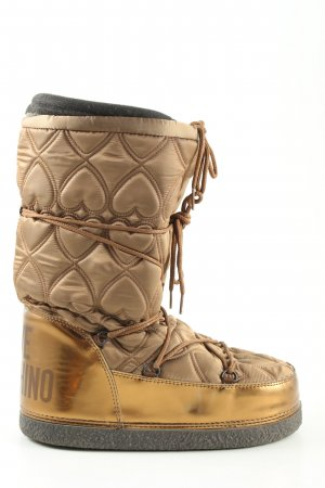 Love Moschino Winter Boots brown-gold-colored quilting pattern casual look